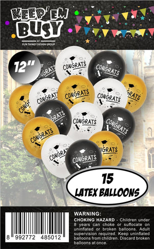 15 Pieces Graduation Latex Balloons