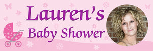 Baby Shower Banner Pink With Pram and Photo