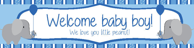 Welcome Baby Boy Banner with Elephants
