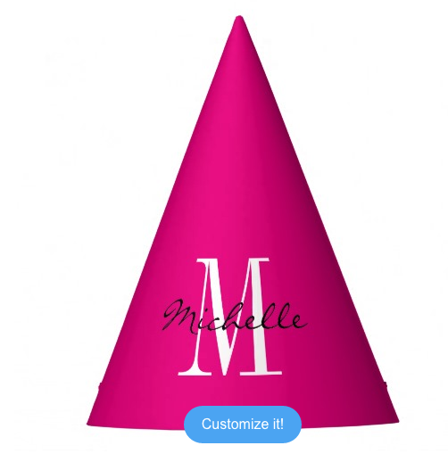 Custom Name Monogram Neon Pink Birthday Party Hat