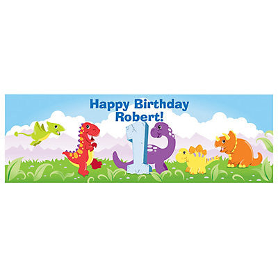 Customized 1st Dinosaur Birthday Banner