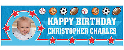Customized All Star 1st Birthday Banner