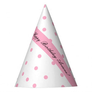 Pink Polka-Dotted Personalized Party Hat