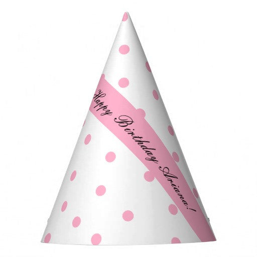 Pink Polka-Dotted Personalized Party Hat (10 pcs)