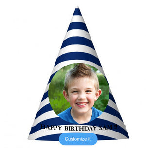 Royal Blue Striped Party Hat (10 pcs)