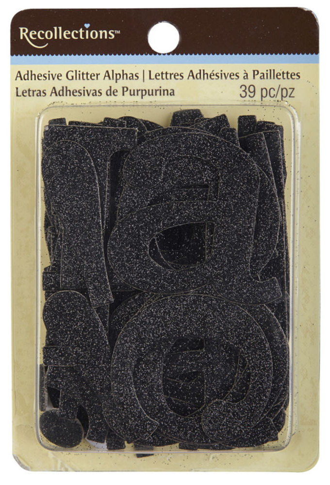 Recollections™ Adhesive Glitter Chipboard Alphabet, Large, Black