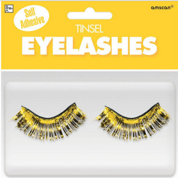 Amscan Tinsel Eyelashes Yellow