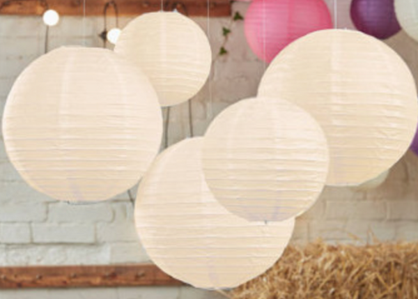 Ivory Silk Paper Lanterns 3ct