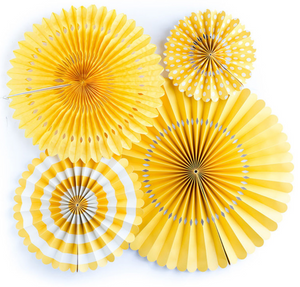 Set of 4 Decorative Paper Fans - Yellow