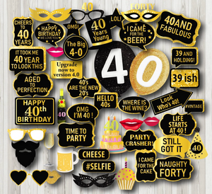 40th Birthday Photo Booth Props