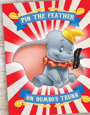 Pin the Feather on Dumbo's Trunk Game