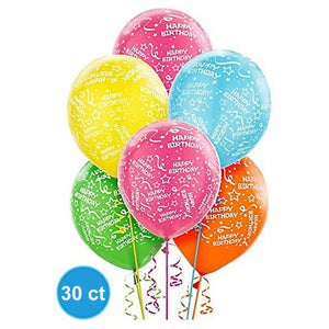 Birthday Colors Latex Balloons (30 Pcs)