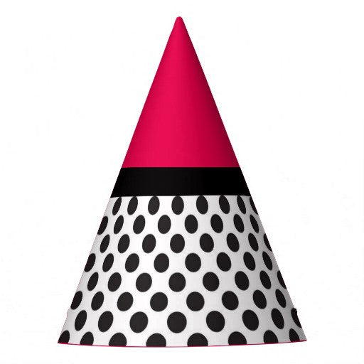 Black & White Polka Dots Pink Top Party Hat