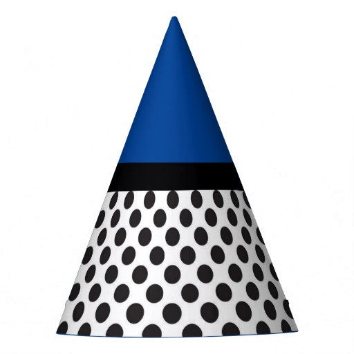 Black & White Polka Dots Blue Top Party Hat