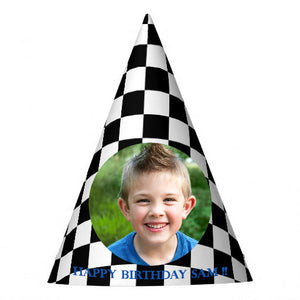 Black Checkered Party Hat (10 pcs)