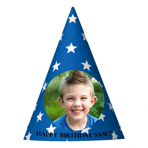 Blue Starred Wizard Party Hat