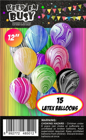 15 Pieces Rainbow Marble Latex Balloons