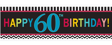 Chevron Stripes 60th Birthday Banner