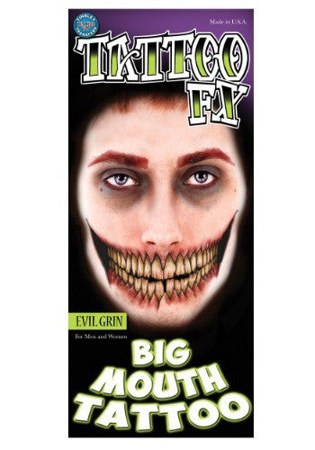 EVIL GRIN TEMPORARY BIG MOUTH TATTOO KIT