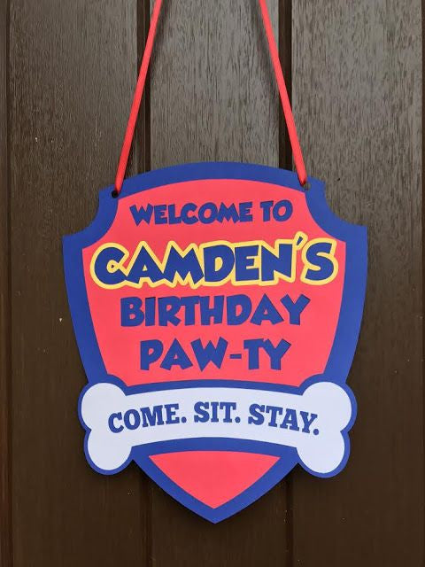 Personalized Paw Patrol Front Door Sign