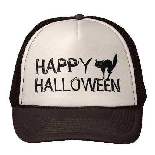 Happy Halloween Black Scaredy Cat Trucker Hat