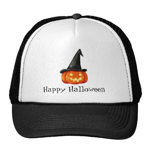 Happy Halloween Witch Pumpkin Trucker Hat