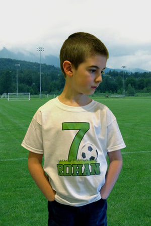 Big Number SOCCER Birthday Shirt boy or girl T-shirt