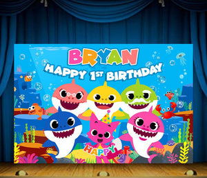Baby Shark Birthday Backdrop