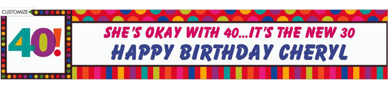 Colorful 40th Birthday Banner