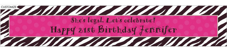 Custom Zebra Party Banner