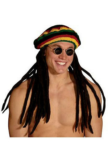 RASTA HAT WITH DREADLOCKS