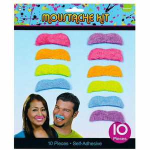 AMSCAN 80's Party Mustaches, 10 Ct.
