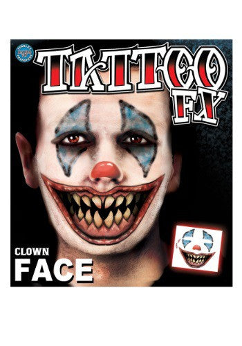 SCARY CLOWN FACE TEMPORARY TATTOO