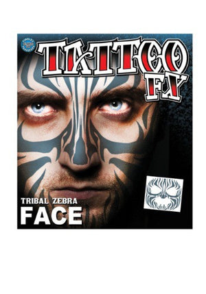 TRIBAL ZEBRA FACE TEMPORARY TATTOO
