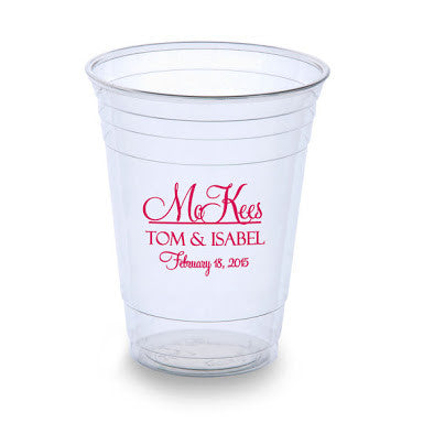 Personalized Wedding Plastic Cups