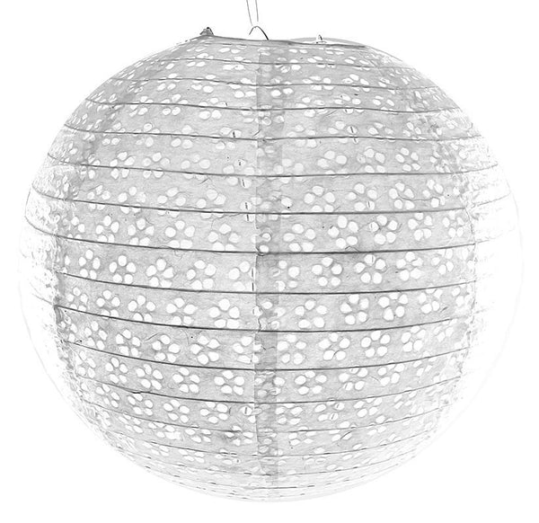 White Circular Hole Paper Lanterns 3ct