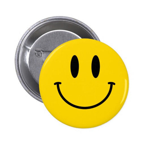 Yellow Retro Acid Smiley Badge
