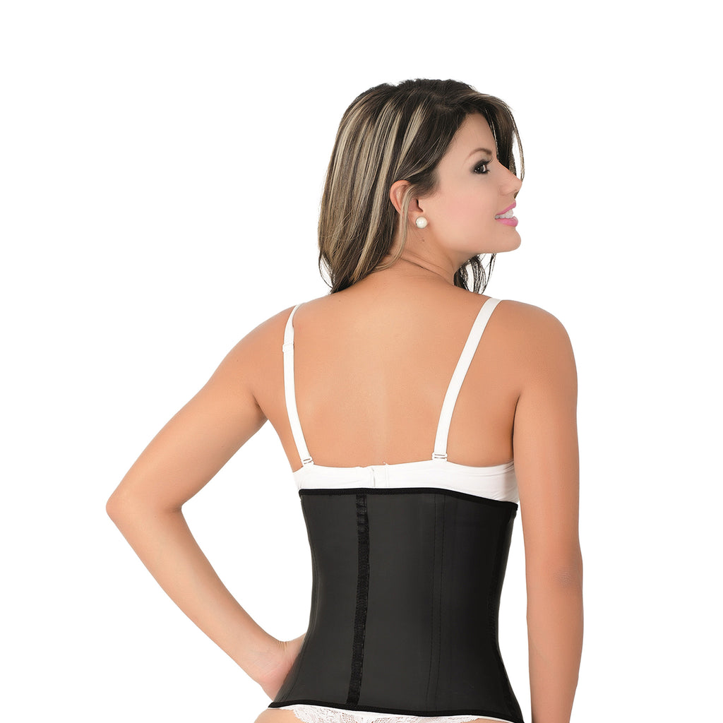 CT2021 Classic Black Workout Cincher Corset Shapewear with 3 Hooks – Faja Latex Girdle - Curvy Trainer - 2