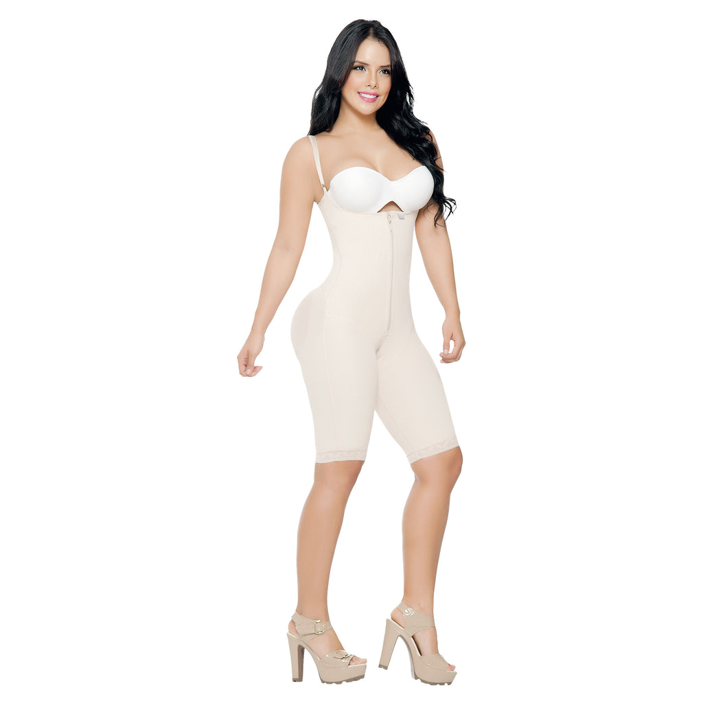 CT3081  Open Bust Full Thigh Shapewear Bodysuit with Adjustable Straps - Curvy Trainer - 2