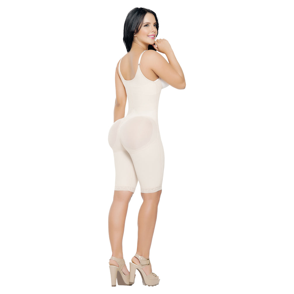 CT3081  Open Bust Full Thigh Shapewear Bodysuit with Adjustable Straps - Curvy Trainer - 1