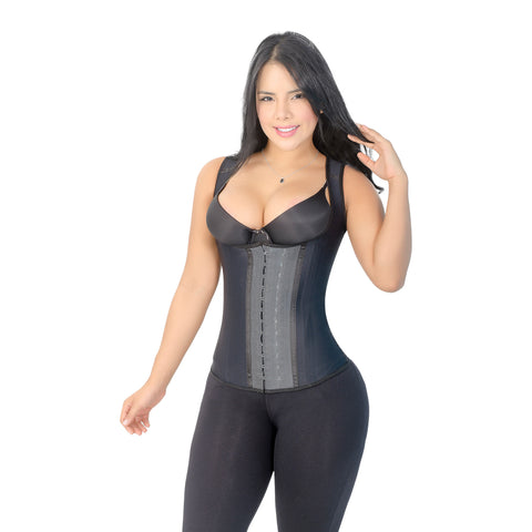 CT2021 Classic Black Workout Cincher Corset Shapewear with 3 Hooks – Faja Latex Girdle