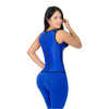 CT2024 Blue Workout Vest Cincher Corset Shapewear with 3 Hooks - Curvy Trainer - 2