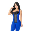 CT2024 Blue Workout Vest Cincher Corset Shapewear with 3 Hooks - Curvy Trainer - 1