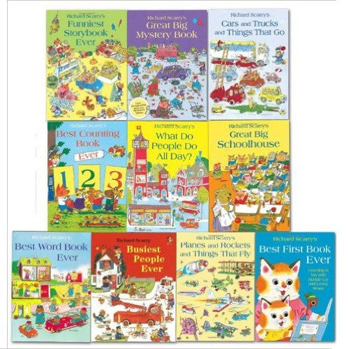 Richard Scarry Collection 10 Books set Includes Best First Book Ever...etc