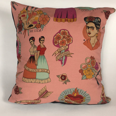 Frida pink cushion cover