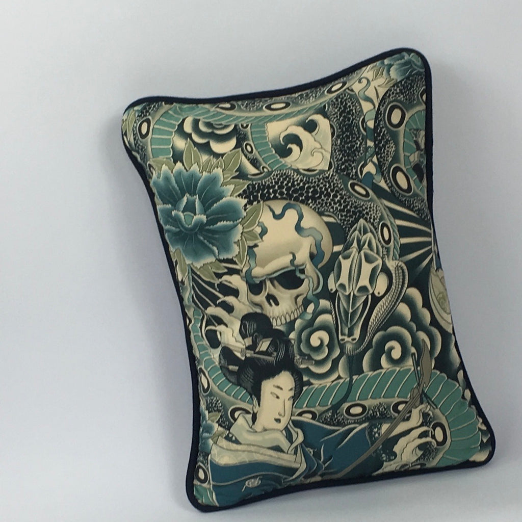 Japanese Tattoo Blues Cushion with Piping