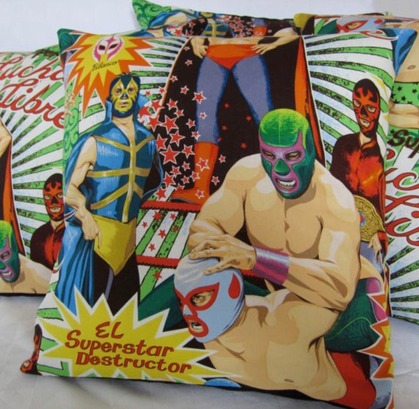 Mexican wrestler cushion cover