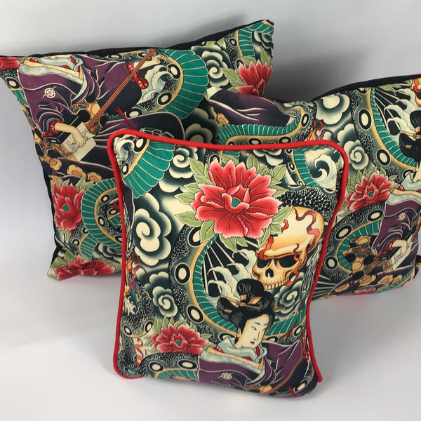 Japanese Tattoo Multicoloured Cushion with Piping