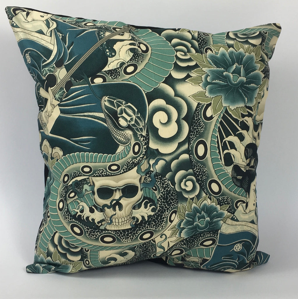 Japanese Tattoo Blue Cushion Cover