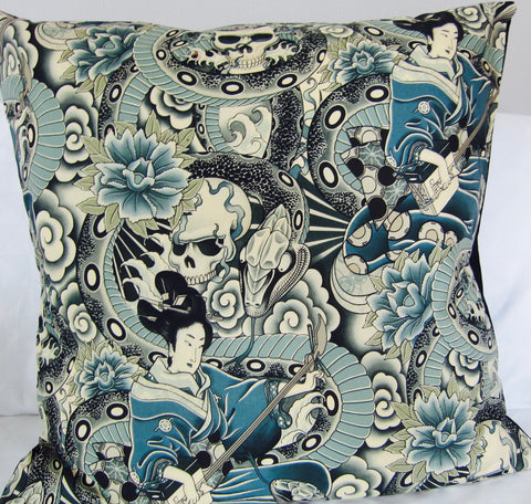 Japanese tattoo blue floor cushion cover